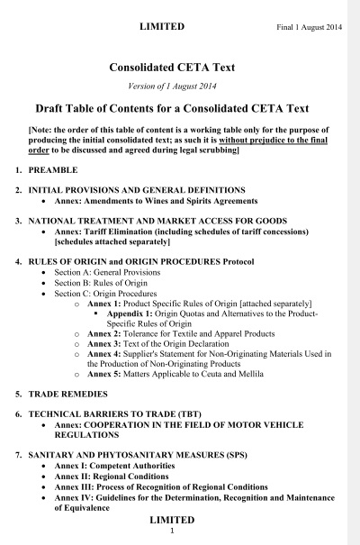 CETA Deckblatt