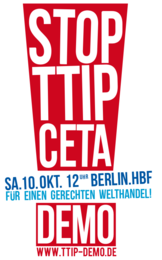 Aufruf Demonstration STOP TTIP CETA 10.10.15 Berlin